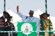 Nigeria's President Muhammadu Buhari waves during a graduation ceremony at Kaduna State University in Kaduna, Nigeria December 12, 2015. REUTERS/Stringer